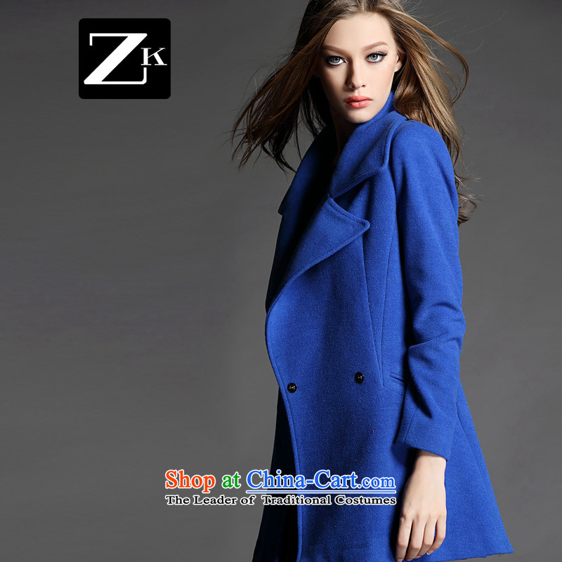 The autumn and winter zk2015 new gross girls jacket? Long Small incense wind gross coats female_?? a wool coat color blue燤