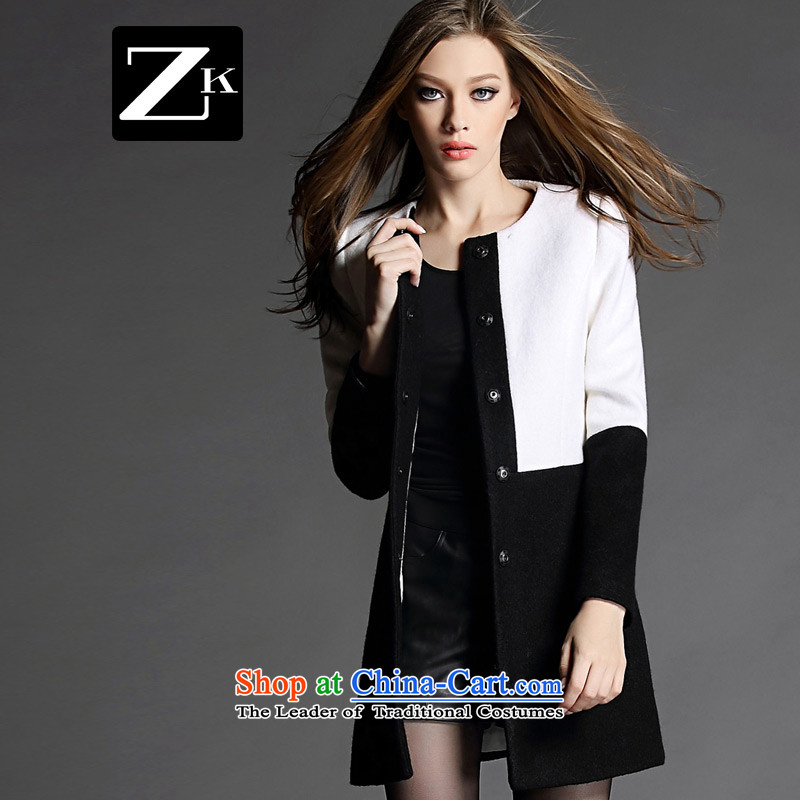 Zk Western women 2015 Fall/Winter Collections of new small-wind jacket girl in gross? long coats gross? a wool coat black and white S