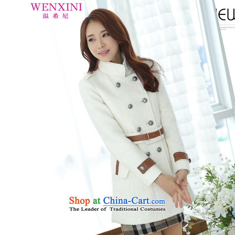 Temperature,?2015 autumn and winter larger women in long double-Sau San leisure gross a wool coat jacket female white?S