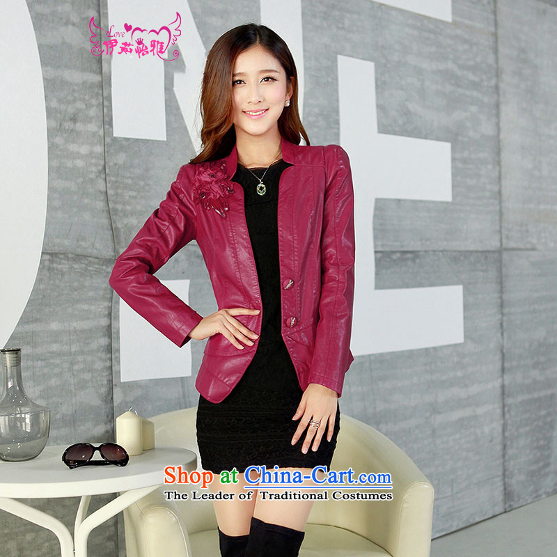 El-ju thick MM2015 Yee Nga Chau is indeed intensify 5XL add locomotive for larger female PU leather garments jackets of thick red聽XXXXXL YD13168