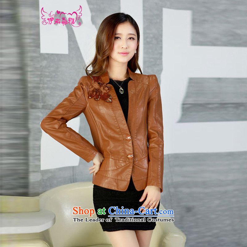 El-ju thick MM2015 Yee Nga Chau is indeed intensify 5XL add locomotive for larger female PU leather garments jackets YD13168 in thick red聽XXXXXL, el-ju Yee Nga shopping on the Internet has been pressed.