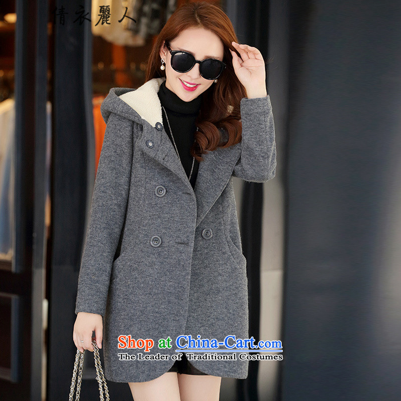 Qian Yi Li Ren 2015 Fall_Winter Collections new Korean double-windbreaker thick larger gross girls jacket? Long wild wool a wool coat female Q3 gray燤
