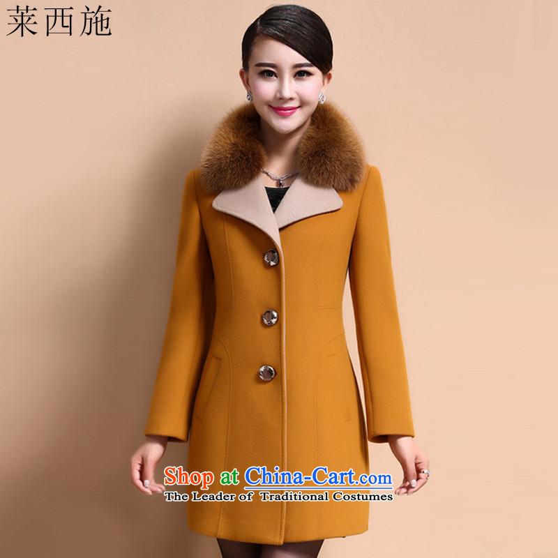 Hundreds of shops benefit war Gloria Xi Shi 2015 autumn and winter in long overcoat female 113 yellow燲XXL._