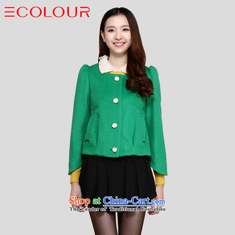 Three exquisite Sau San Video Thin Multimedia minimalist-elegant pure color wild short coats femaleL/165/88a green
