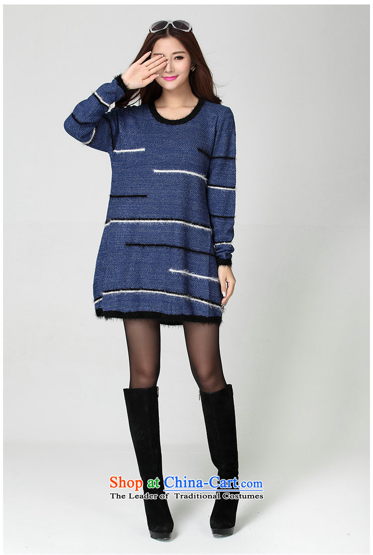Package for larger women's mail sweater Cheongsams Korean autumn and winter new minimalist round-neck collar long-sleeved loose, dresses, forming the color plane leisure knitted dress thick mm blue will fit 130-180 catty picture, prices, brand platters! The elections are supplied in the national character of distribution, so action, buy now enjoy more preferential! As soon as possible.