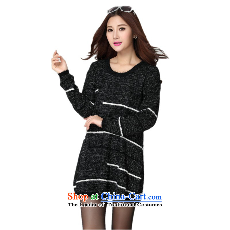 Package for larger women's mail sweater Cheongsams Korean autumn and winter new minimalist round-neck collar long-sleeved loose, dresses, forming the color plane leisure knitted dress thick mm blue will fit 130-180, Hazel (QIANYAZI constitution) , , , sho