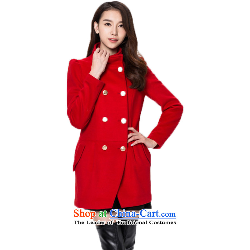 3 Color Classic double-style small elegant collar pure colors in the wild long coat female red燲l_170_92a
