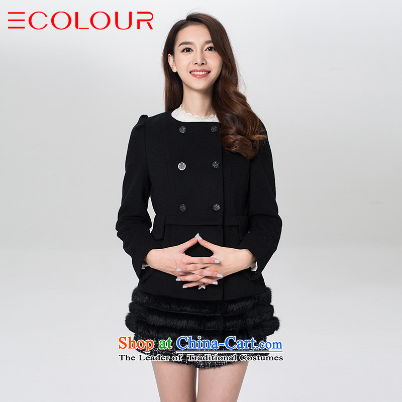 3 color for winter Classic double-uk, The wind upscale gross pure color? wild in long coat female blackL_165_88a