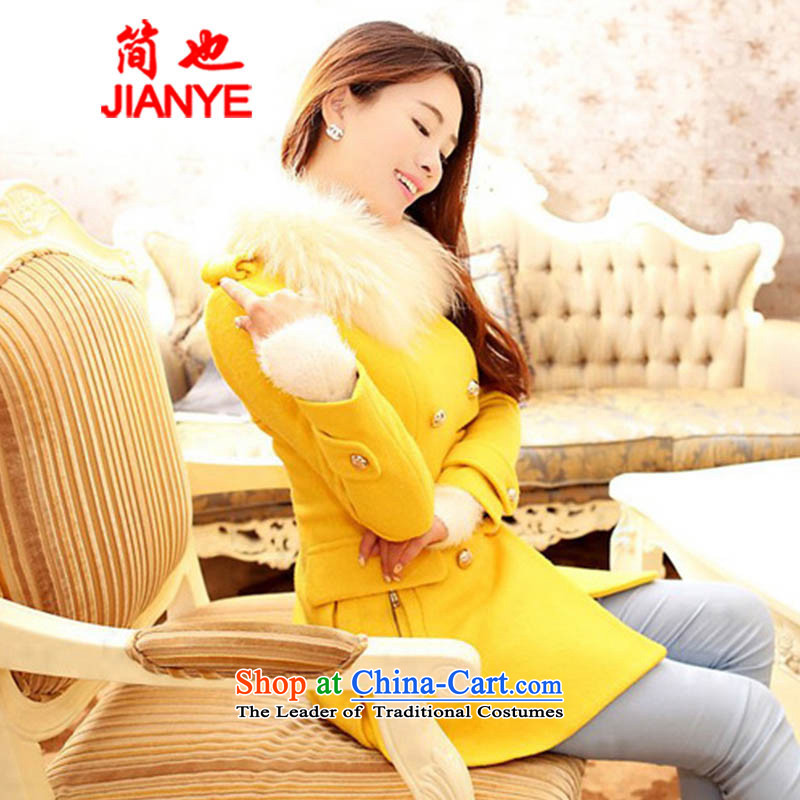 Jane can also load a new women's 2014 a wool coat Korean version for long, gross wool coat thick ni-? largest 952_ yellowL