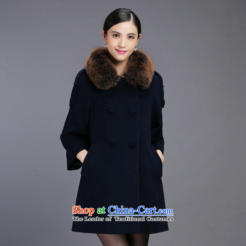 Ancient Andean women's 2015 new winter wool a gross Neck Jacket in long big coats, wool velvet XXXL navy blue