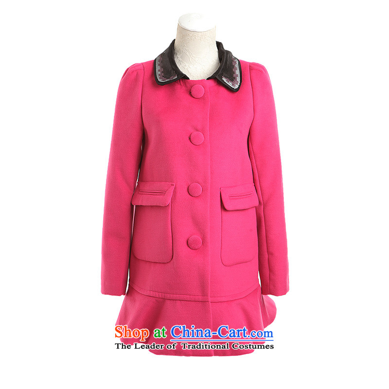 Tri-color small stylish collision can be removed from the roll collar sweet under niba gross? plum Xl_170_92a female Coats