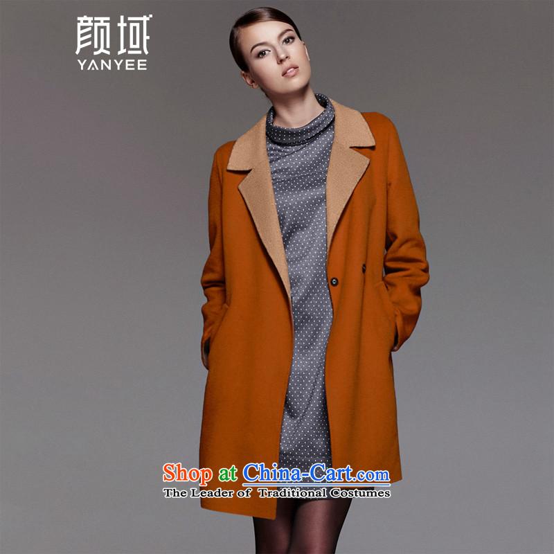 Mr NGAN domain 2015 autumn and winter large female temperament. Long woolen coat Korean jacket04W4594 duplex gross?S_36 orange