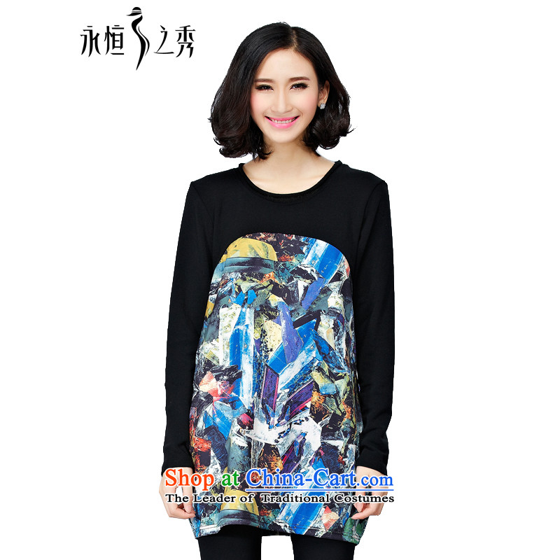 The Eternal Sau 2014 autumn and winter new large western digital printing with long-sleeved dresses worn alone, forming the Black燲L