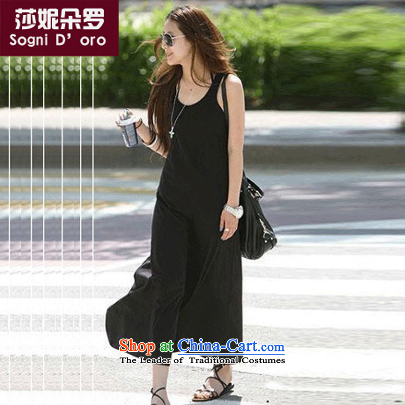 Luo Shani Flower Code women's dresses thick mm summer Bohemia vest Top Loin video thin relaxd dress6XL 6468 Black