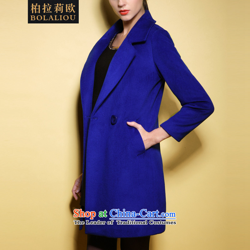 Pak Lali Europe Women�15 Spring New Product woolen coat European and American high-end of the temperament wool coat female 61357?�L blue