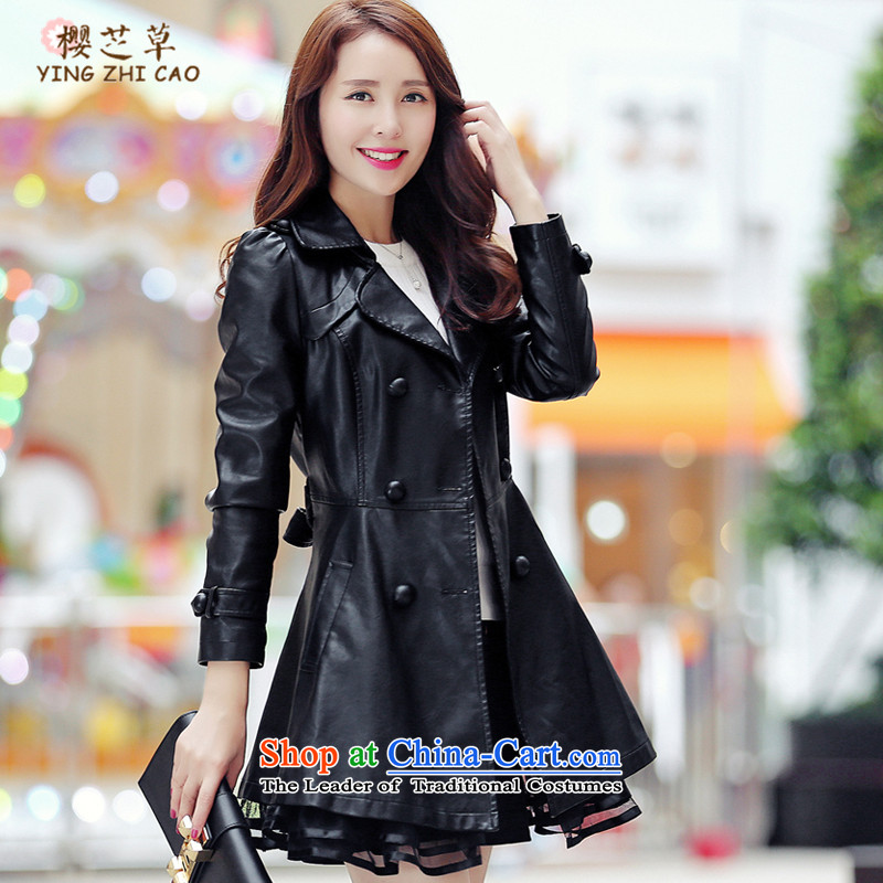 The autumn and winter load Korean jacket for larger female jackets thick mm thick, Hin thin, sister to thick XL PU leather jacket coat black6XL(160 around 922.747)
