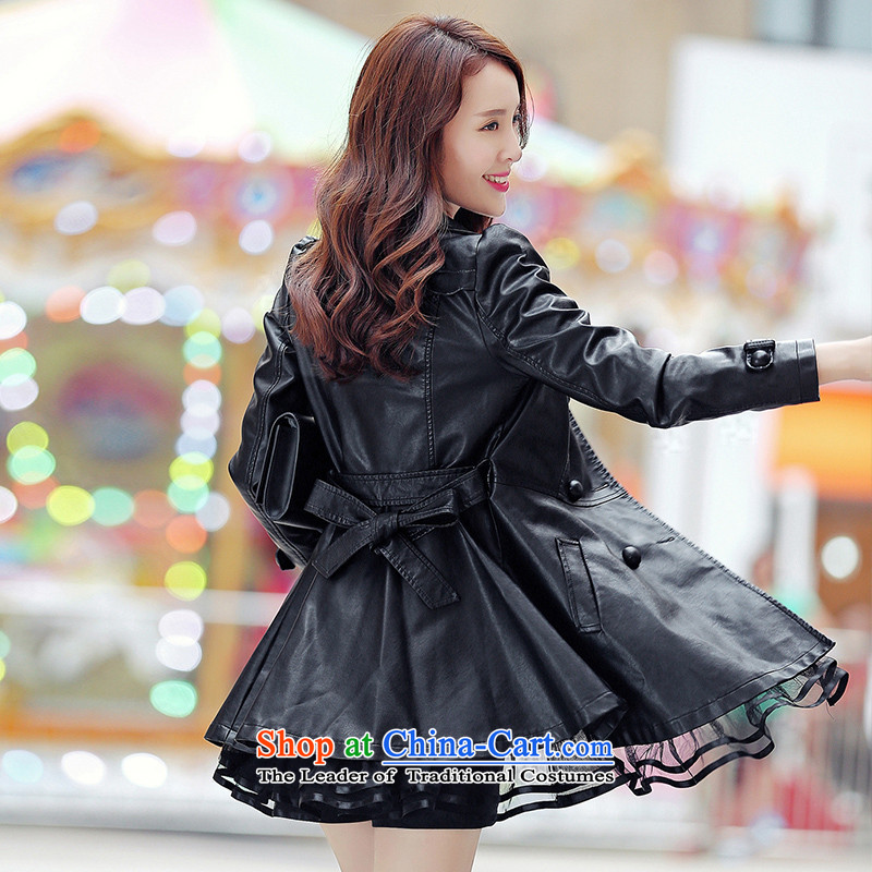 The autumn and winter load Korean jacket for larger female jackets thick mm thick, Hin thin, sister to thick XL PU leather jacket in black leather jacket聽around 922.747), Sakura 6XL(160 Chi grass (yingzhicao) , , , shopping on the Internet