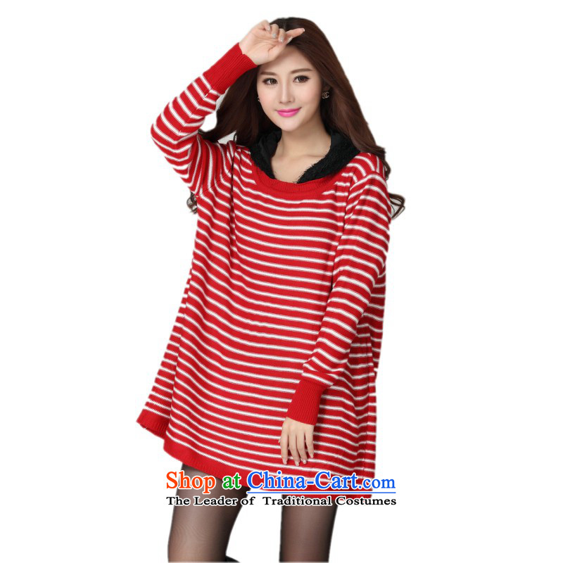 The constitutional package mail hazel king to T-shirt Korean vogue streaks cap Knitted Shirt ribbed long-sleeved loose OL video thin cheongsams thick solid red shirt is mm code for 130-180 catty