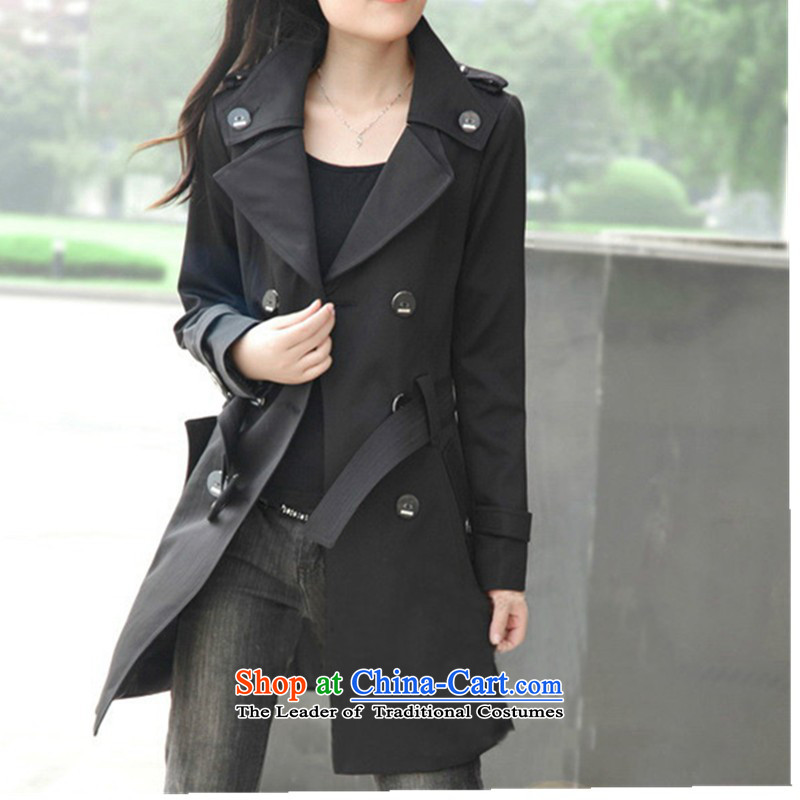 New Spring and Autumn 2015 installed version of large Korean women in the Code long jacket, loose to increase female thin windbreaker graphics to intensify windbreaker thick sister loose video thin blackXXXXL