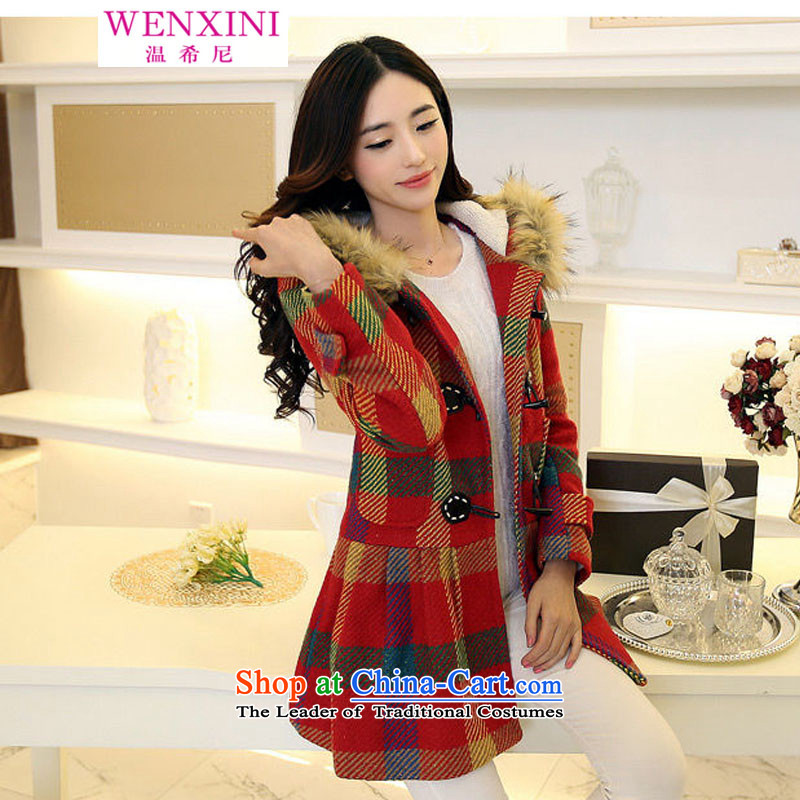 Temperature, 2015 autumn and winter for women in Korean long hair? latticed jacket Korea loose hair for a wool coat female picture color M/original better quality