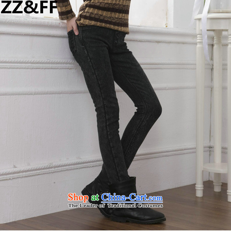 Zz_ff autumn and winter new plus extra thick jeans female elasticated lint-free waist skinny legs pencil trousers graphics to increase women's code thick MM Korean black with gray snowflake plus XXXXXL lint-free