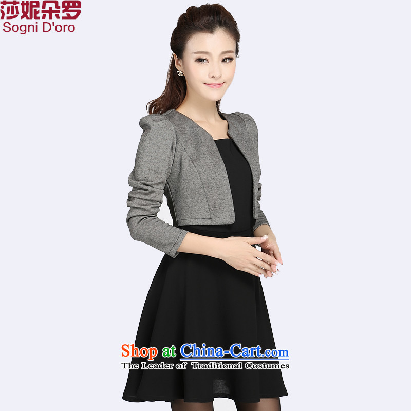 The latte macchiato, Shani to xl dresses thick sister autumn and winter leave two video large thin women thick, Hin thin, 4010 Black�L