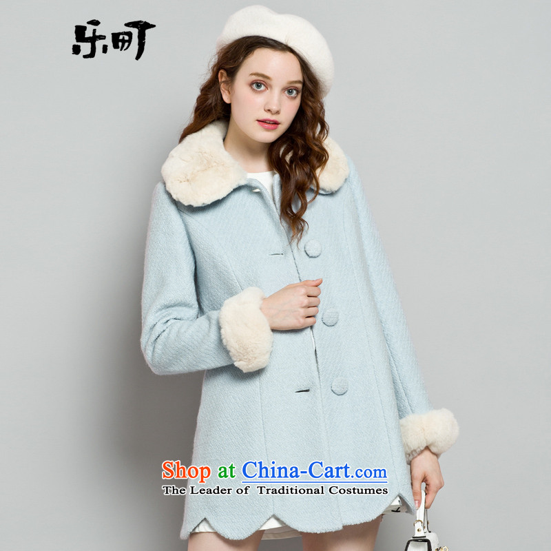 Lok-machi 2015 winter clothing new date of women's gross for coats blue sweet聽L