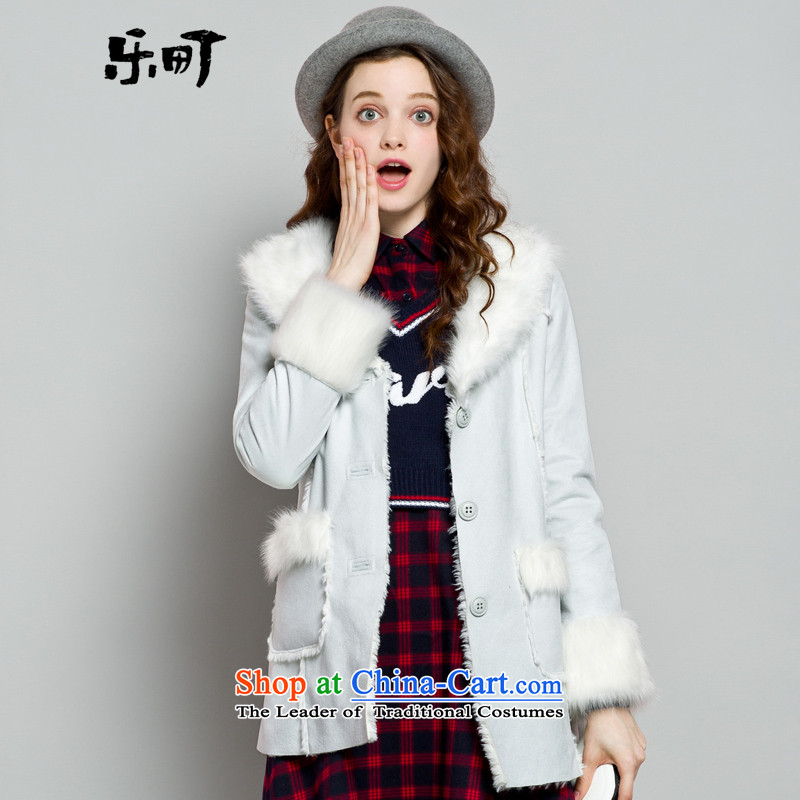 Lok-machi 2015 winter clothing new date of female flip fur long coats CWBB44304 BLUE?L