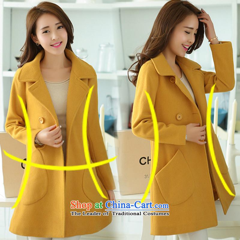 Aino, 20115 new Korean Winter Female fashion, long hair? coats H3493-2 YELLOWL