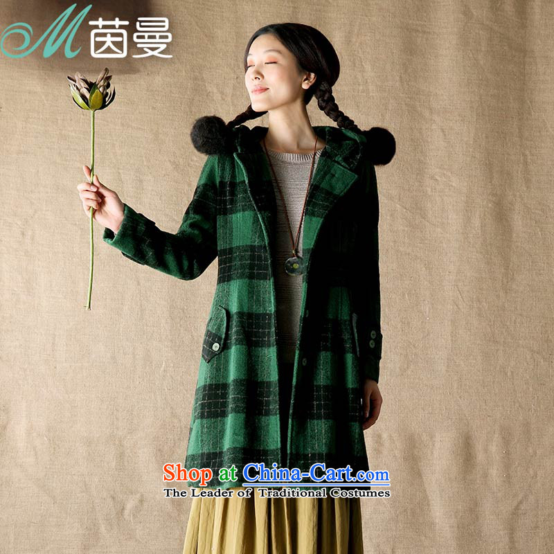 Athena Chu Cayman?2015 Spring New Long large compartments with cap wool overcoats female elections?- 8343200615 dark green?S
