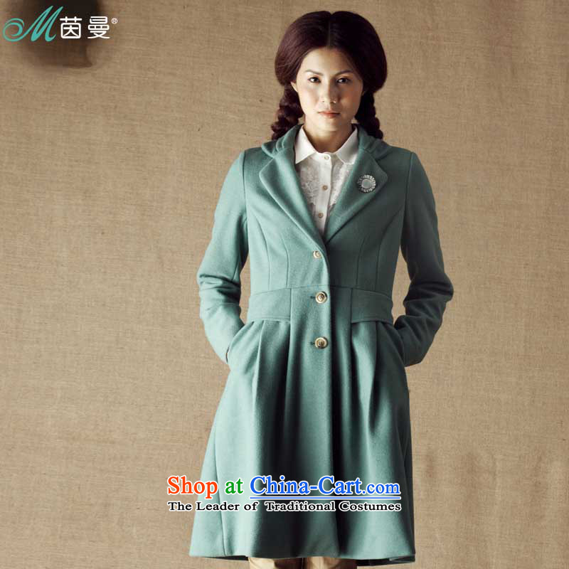 Athena Chu Cayman Women 2013 winter clothing suit for simple long hair a jacket [8343200139- MOSS greenS