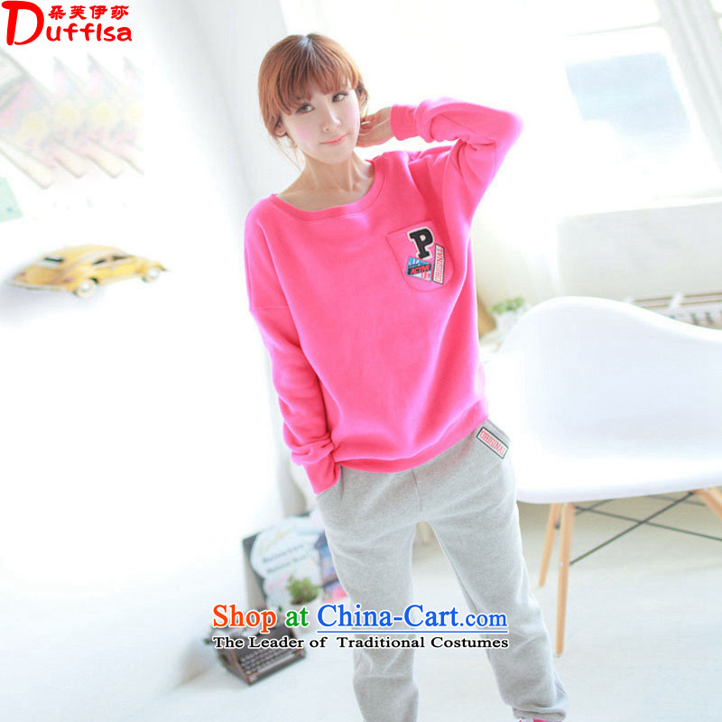 Flower to Isabelle聽2015 new MM thick large relaxd round-neck collar kit and sweater two kits thick draw lint-free long-sleeved leisure wears the red聽XXXL D7280 female