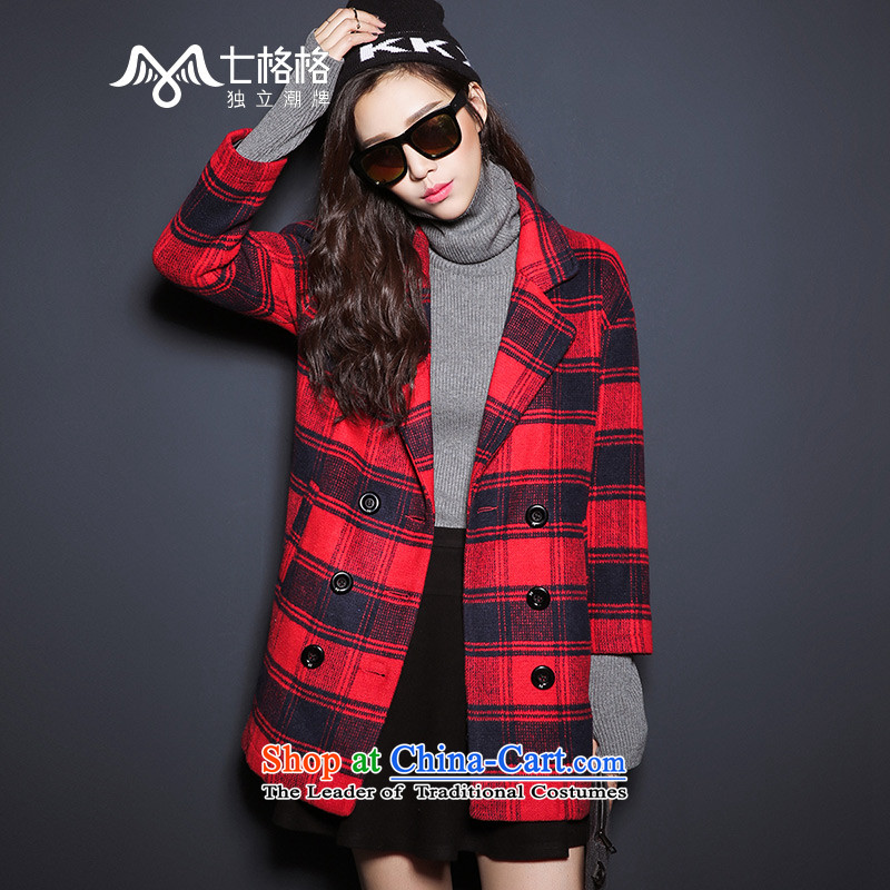 _Non-dual 12 7- Pearl Gross 2015 winter coats? the new Scottish tartan coats of female red L code - Casual Version