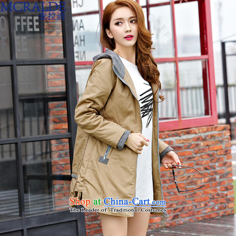 2015 Autumn Elbaradei Mak load new larger female thick mm windbreaker. Long cotton thick cotton-plus increased female?80582?card its?XXL
