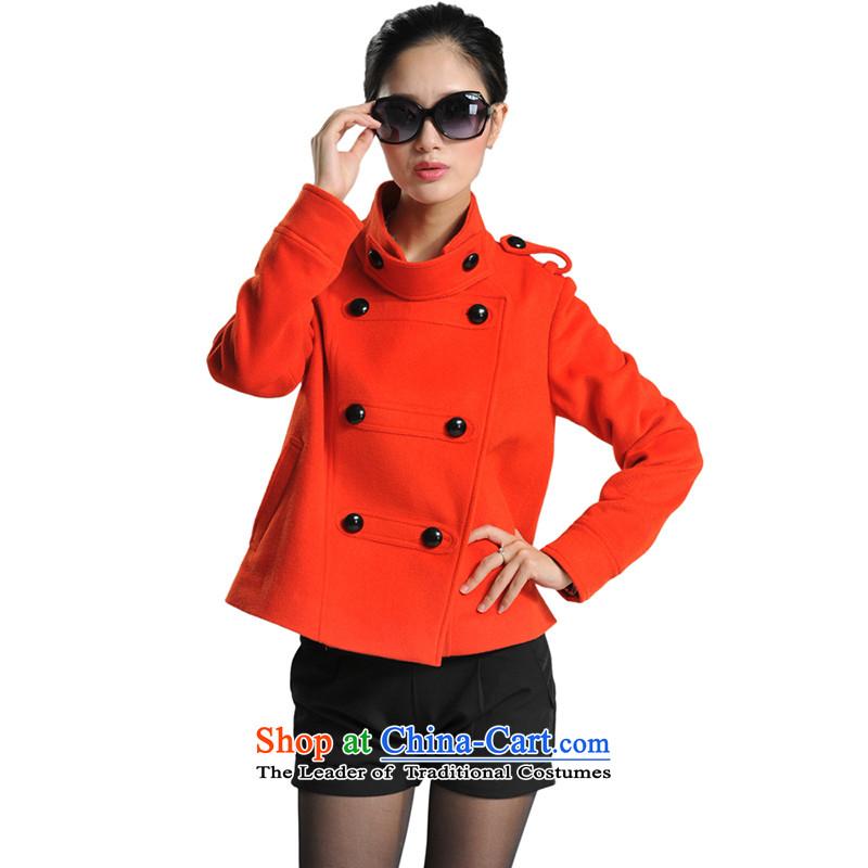 The fall of new, lamodin2013 women's gross? jacket double-wool coat?  XL-175 Orange Red Jacket