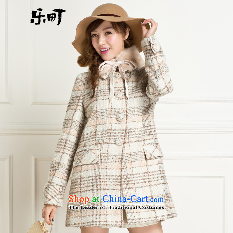 Lok-machi 2015 winter clothing new date of female plaid tether rabbit hair for coats C1AA34203 copper-coloredM