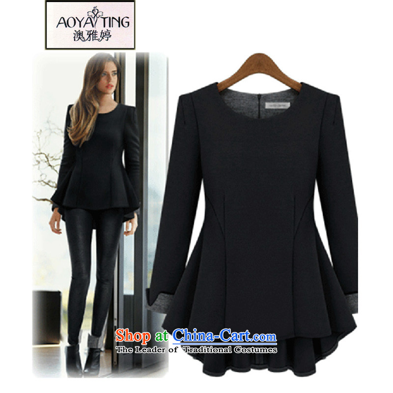 O Ya-ting 2015 autumn and winter New Sau San shirt dresses to xl women forming the long-sleeved shirt solid color black 5XL HM816 female 175-200 recommends that you Jin