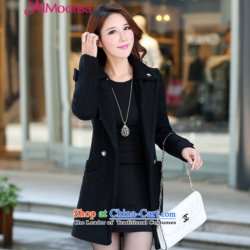 The autumn and winter aimoonsa2015 new for women Korean Sau San double-medium to long term Gross Gross? coats jacket? female lapel a wool coat Black?XL