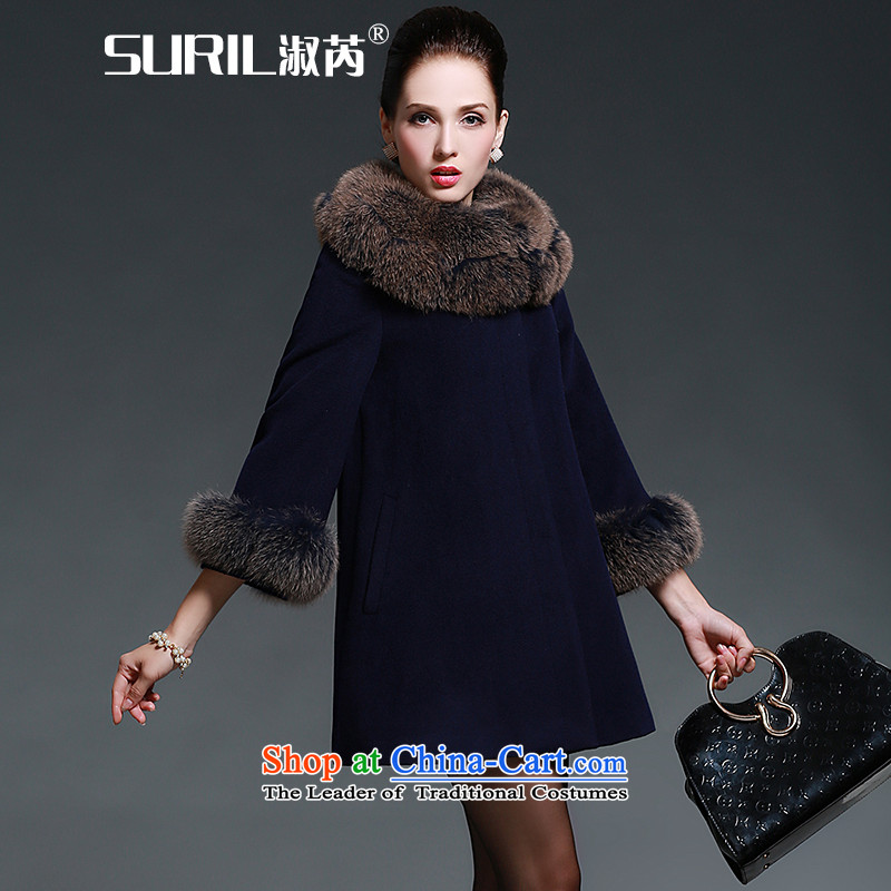Mrs and cashmere overcoat female woolen coat girl聽in the new winter 2015 long coats gross? For coats jacket fox gross blue聽 XL
