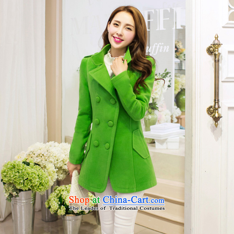 Michelle Gellar of gross? 2014 Autumn load female Coat new Korean fashion ladies Sau San OL temperament in thin long graphics)? sub-jacket coat the green female?M