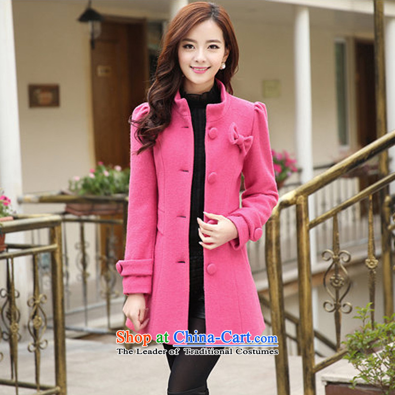 Michelle Gellar of 2014 autumn and winter new Korean Bow Tie single row detained wool a wool coat female genuine gross jacket key red聽L?
