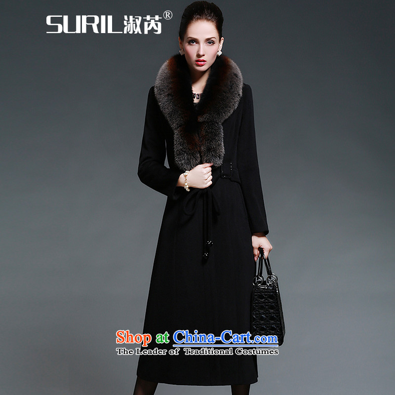 Mrs and cashmere overcoat female wool coat 2015 autumn and winter female new long hair for gross so fox black jacket XXL