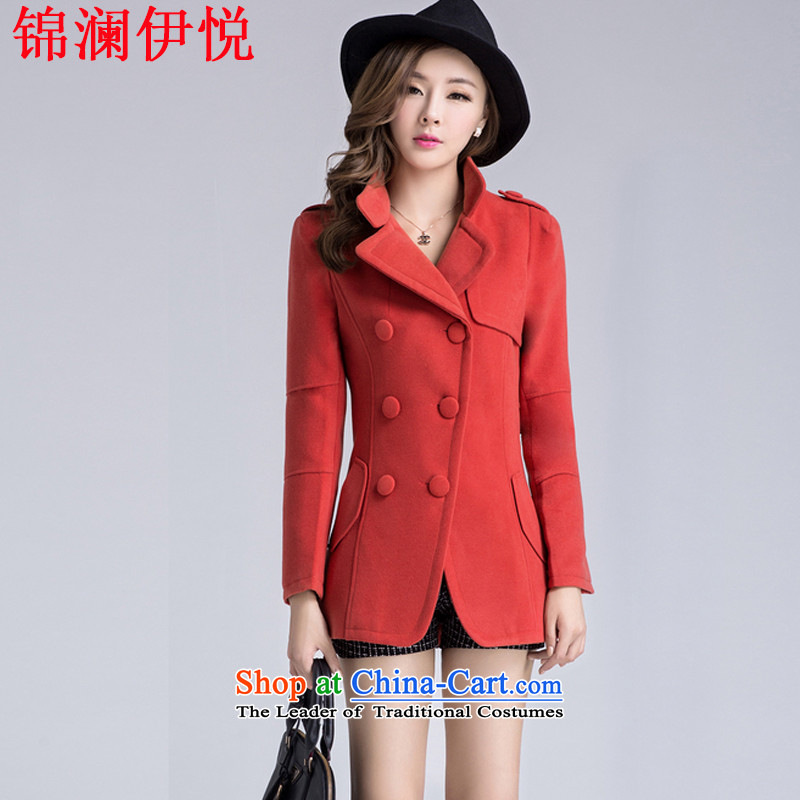 The world of Kam Yuet autumn and winter load new female lapel Sau San video thin double-gross a wool coat wind jacket suit Korean sweet gentlewoman temperament OL ORANGE聽L