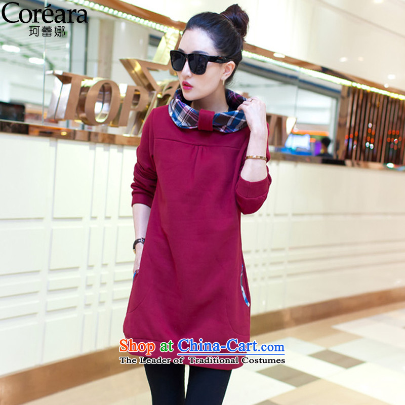 Memnarch Rikke long-sleeved dresses�15 new larger women fall_winter collections to intensify the Korean Sleek and versatile thick mm dresses autumn燲XXL wine red 135-150 matters . 112 25 catty