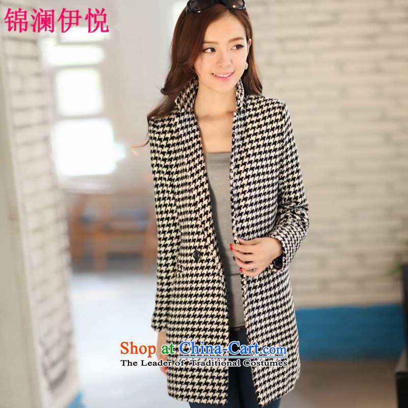 The world of Kam Yuet autumn and winter load new women's long in wind jacket cotton chidori of clip cotton robe cotton coat of winter clothes lady OL commuter temperament sweet picture colors plus cotton,XXL