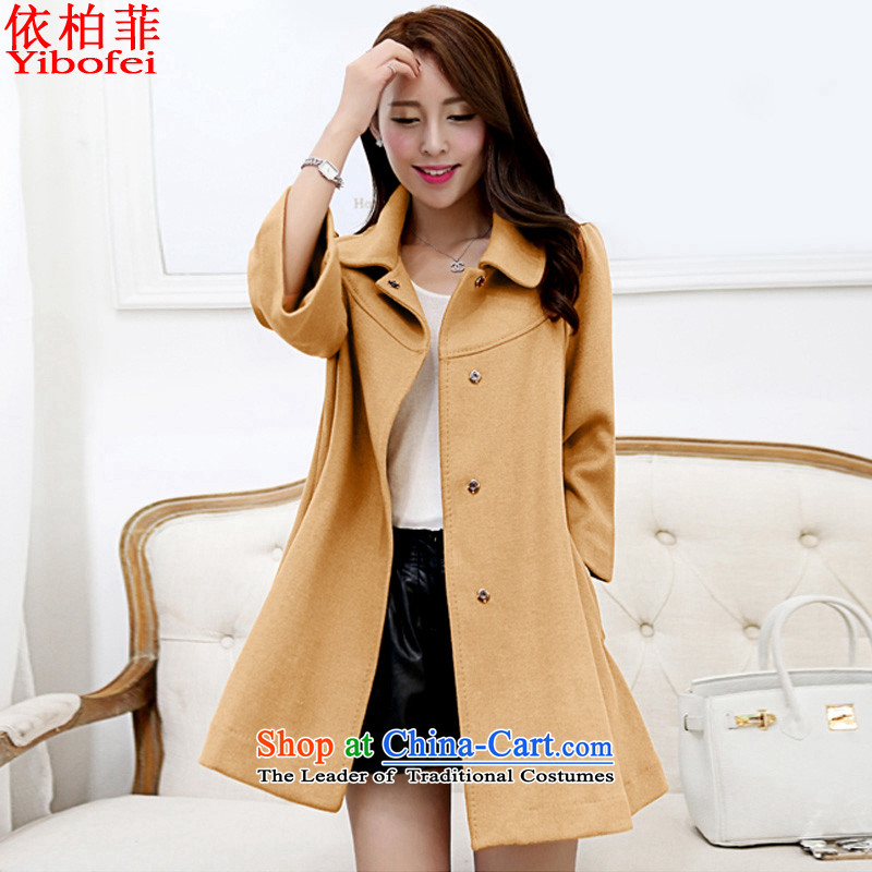 In accordance with the聽2015 autumn and winter new Korean version of the video in Sau San thin long large a wool coat cloak jacket and color聽XXXL Y239 female