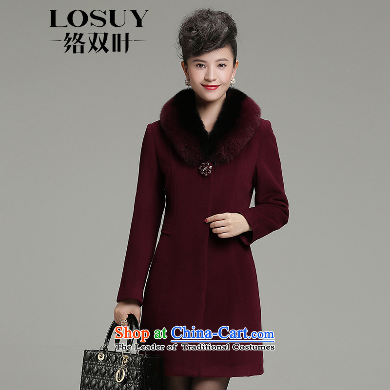 Dual leaf contact a wool coat 2015 in winter the new cashmere long high end female woolen coats female 4XL chestnut horses?
