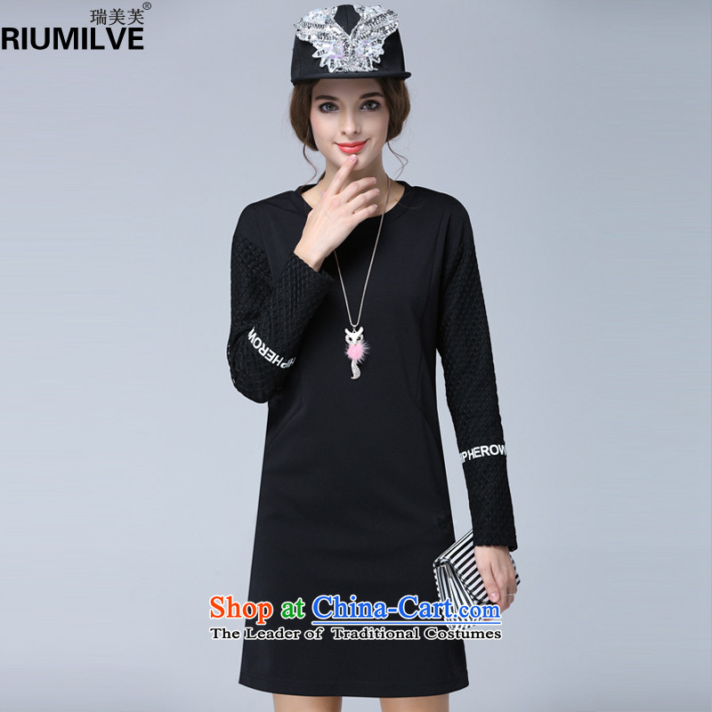 Rui Mei to2015 to increase the number of women in the autumn of new expertise mm loose video thin letter stamp gauze stitching dresses N1605 long-sleeved black3XL
