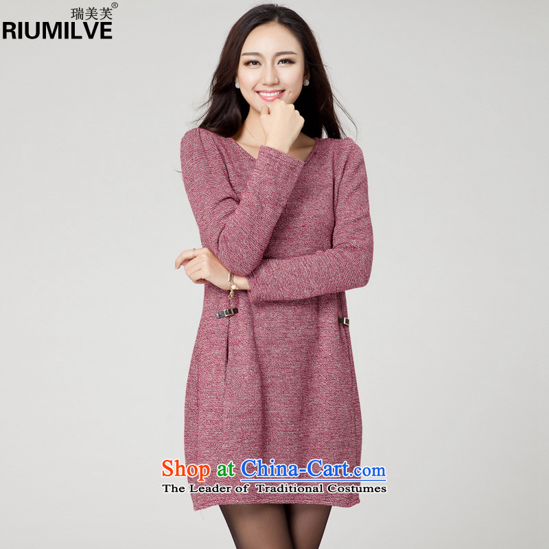 Rui Mei to larger female thick mm 2015 Sau San autumn and winter new to increase expertise of loose video thin long-sleeved knitted dresses YF38�L_160 catty -180 catty Red Cross_