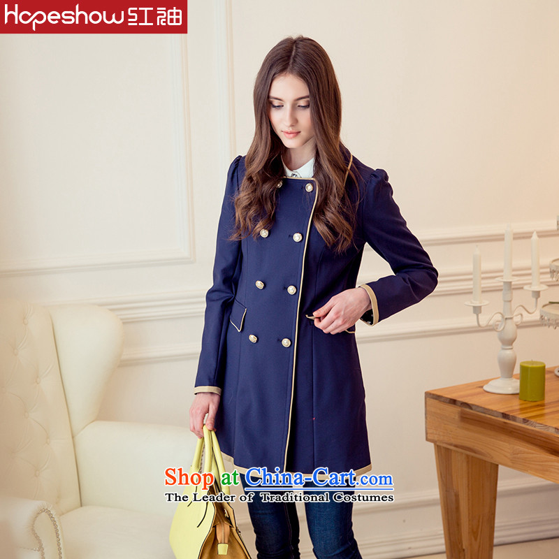 Red autumn sweet knocked color sleeves side of double-windbreaker H5720833 104 Navy L